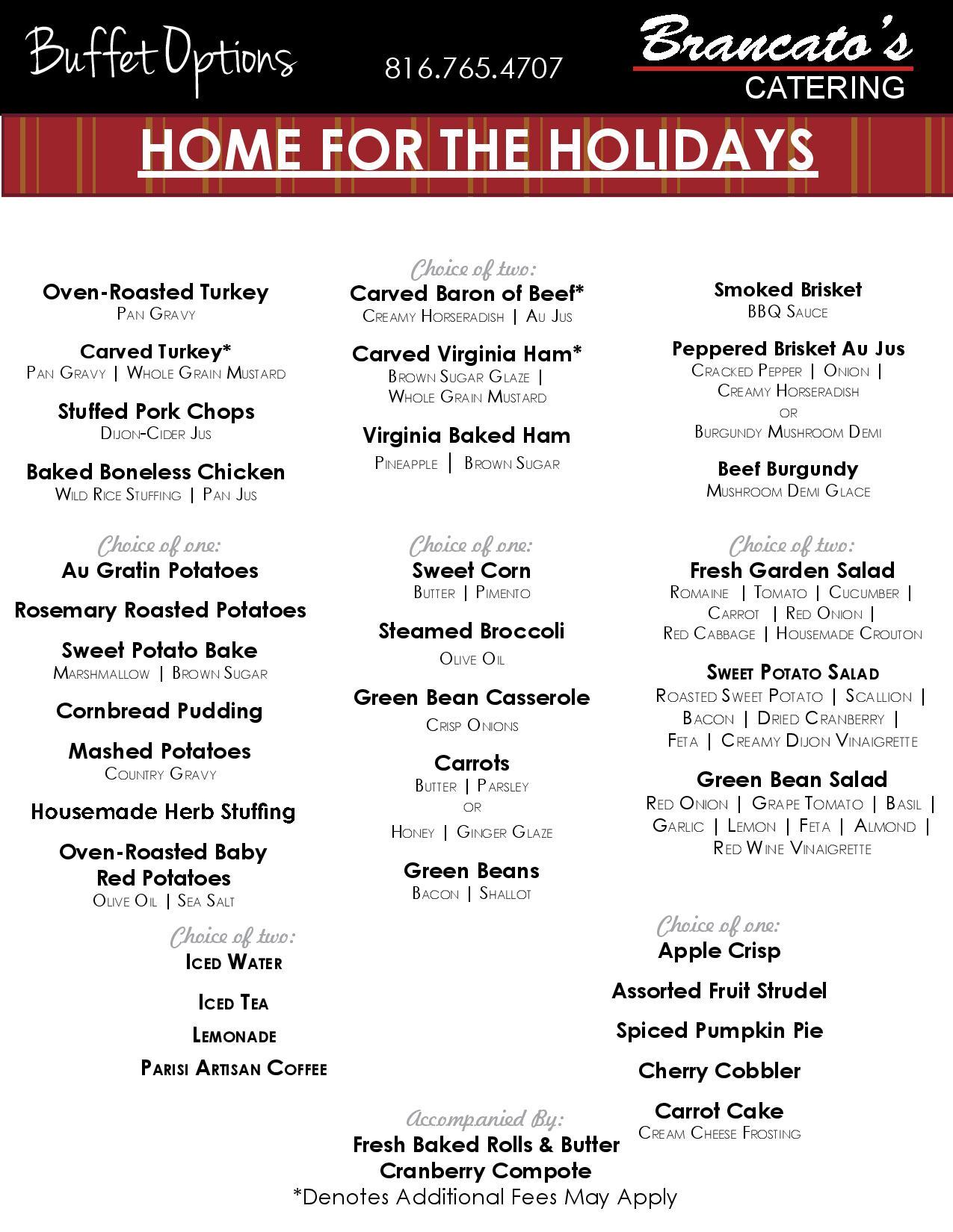Full Service And Express Holiday Menus Catering Kansas City