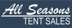 tent sales logo blue background